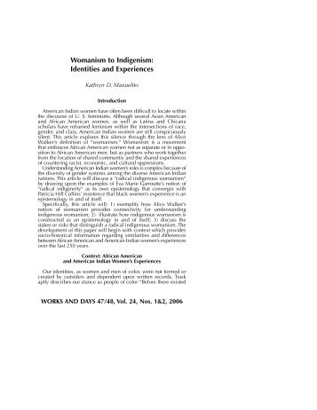 Womanism to Indigenism: Identities and ... - Works and Days