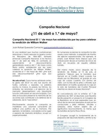 Campaña Nacional ¿11 de abril o 1.º de mayo? - Colypro