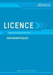 Licence Mathématiques - Université du Littoral-Côte-d'Opale