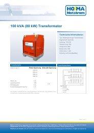 100 kVA (80 kW) Transformator - HO-MA-Notstrom