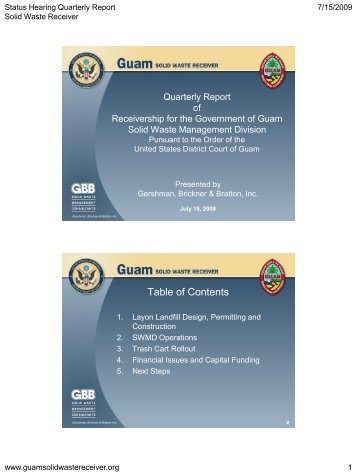 of the Quarterly Report - Guam Solid Waste Receivership