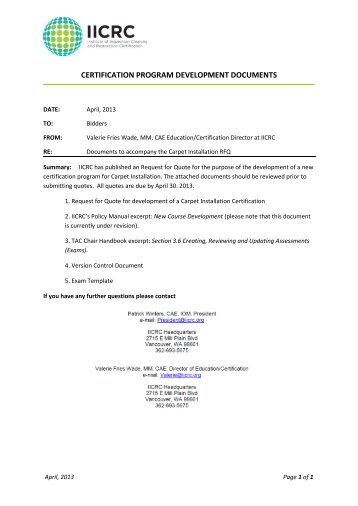 CERTIFICATION PROGRAM DEVELOPMENT DOCUMENTS - IICRC