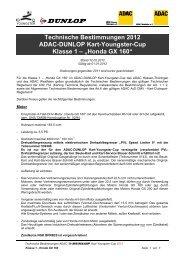 Technische Bestimmungen 2012 ADAC ... - Youngster-cup.de