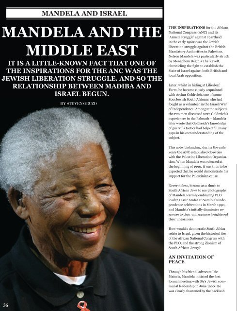 Mandela and the Middle East - South African Jewish Board of ...