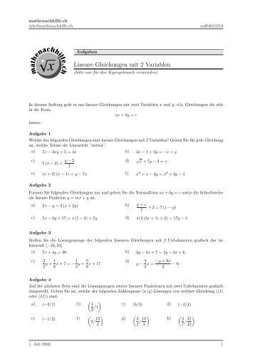 Textaufgaben zu linearen Gleichungen
