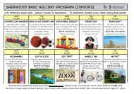 sherwood basc holiday program (juniors) - Sherwood School