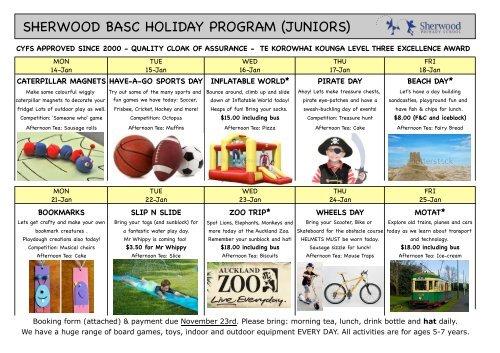 sherwood basc holiday program (juniors) - Sherwood School