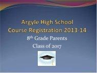 Course Registration 2013-14 8th Grade Parent Meeting - Argyle ...