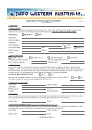 Application for Membership Form 2010-2011 - Judo Western Australia