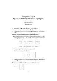 DesignMat Uge 4 Systemer af lineære differentialligninger I