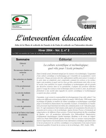 Vol. 2 no 2 - Centre de recherche sur l'intervention éducative (CRIE)