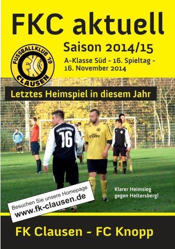 FKC Aktuell - 16. Spieltag Saison 2014/2015