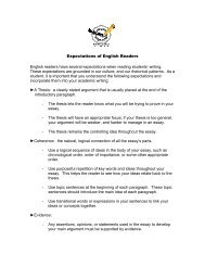 Expectations of English Readers English readers have several ...