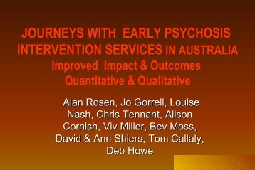 Rational for Early intervention in Psychosis