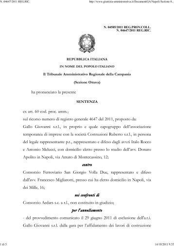 TAR Campania Napoli sez. VIII 30/9/2011 n. 4585. - Appalti e Contratti