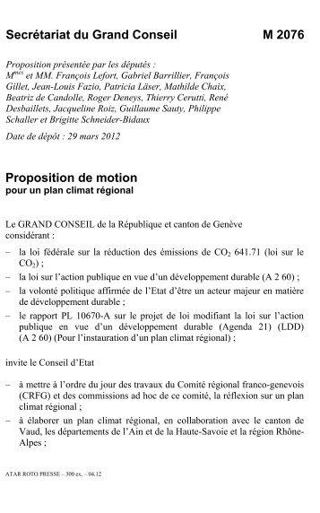 M 2076 - pour un plan climat régional - Etat de Genève