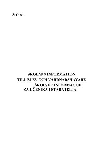 Serbiska SKOLANS INFORMATION TILL ELEV OCH ...