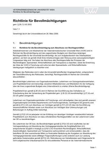 Richtlinie für Bevollmächtigungen - Veterinärmedizinische ...