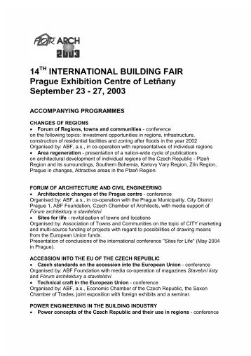 14 INTERNATIONAL BUILDING FAIR Prague Exhibition ... - For Arch