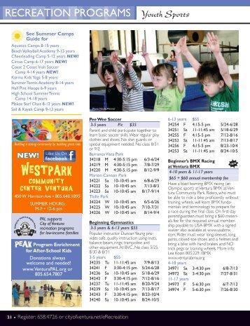 Summer Youth Sports & Gymnastics - City Of Ventura