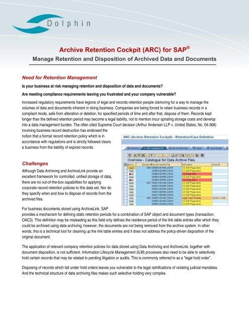 Archive Retention Cockpit (ARC) for SAP - Dolphin