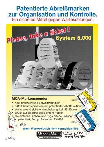 Datenblatt MCA Ticketspender - Hartmut Scholz Waagen und Systeme