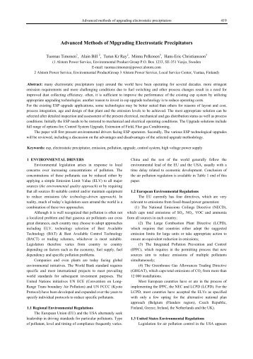 Advanced methods of upgrading electrostatic precipitators - isesp