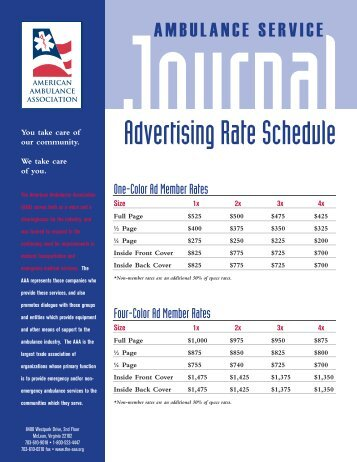 Advertising Rate Schedule - American Ambulance Association