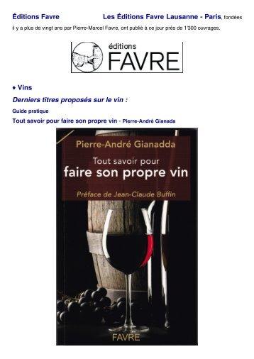 Éditions Favre Les Éditions Favre Lausanne - Paris ... - Cave SA