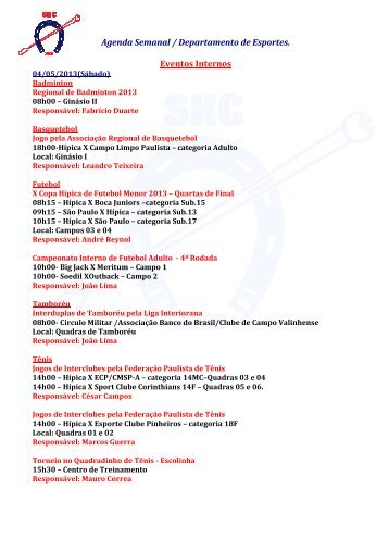 Agenda Semanal / Departamento de Esportes. Eventos Internos