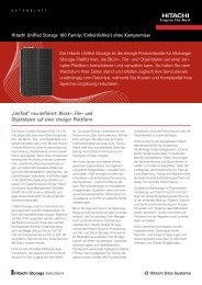 Hitachi Unified Storage: Einheitlichkeit ohne ... - Hitachi Data Systems
