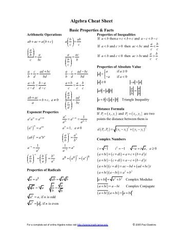 Maths Practice Worksheets For Class 4 Excel Prealgebra Cheat Sheet Order Of Operations Or Order Of  Preschool Rhyming Worksheets Free Excel with Transitive And Intransitive Verbs Worksheets For Grade 4 Pdf Pre Algebra Order Of Operations Worksheet  Answers Algebra Cheat Sheet    Pauls Online Math Notes Double Math Facts Worksheets