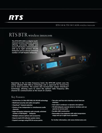 RTS BTR-240 Product Information - Canford Audio