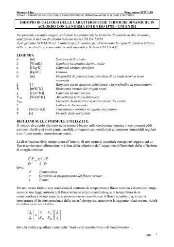 Esempio di calcolo delle caratteristiche dinamiche UNI ... - idronicaline