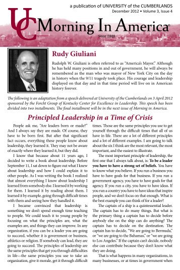 Principled Leadership in a Time of Crisis Rudy Giuliani