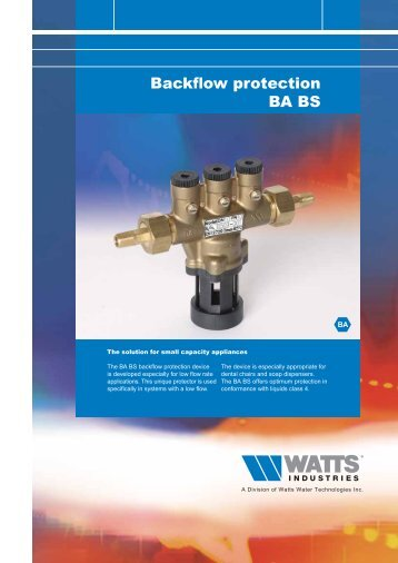 Backflow protection BA BS - Watts Industries