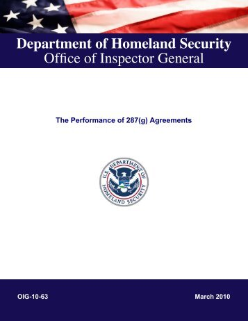 The Performance of 287(g) Agreements - Office of Inspector General