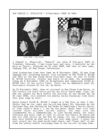 Piscarczyk, Donald - USS Frank E. Evans DD 754
