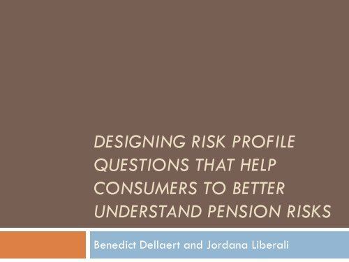 designing risk profile questions that help consumers to ... - Netspar