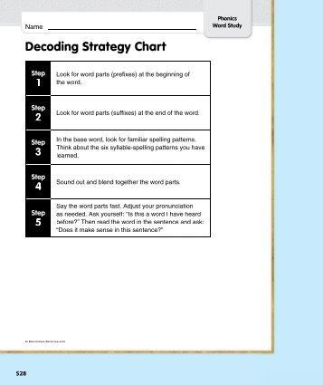 Decoding Strategy Chart Step 1 - Treasures - Macmillan/McGraw-Hill