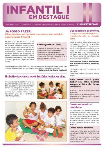 Infantil I - 2 semestre - Nova Escola