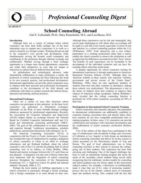 School Counseling Abroad - Counselingoutfitters.com
