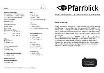 Liebe Gemeinde, - Pfarrblick