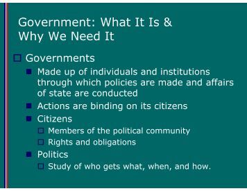 Government: What It Is & Why We Need It