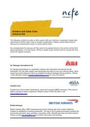 Aviation and Cabin Crew resource list - NCFE