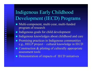 Indigenous Early Childhood Development (IECD) Programs