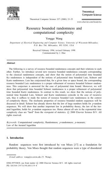 Resource bounded randomness and computational complexity