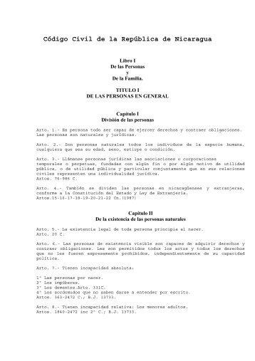 Código Civil de la República de Nicaragua - Poder Judicial