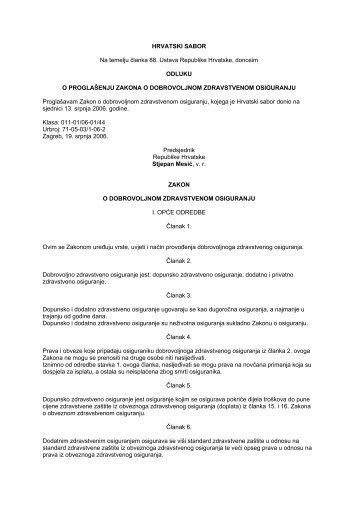 Zakon o dobrovoljnom zdravstvenom osiguranju - Hrvatski zavod za ...