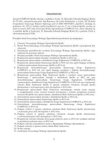 OGŁOSZENIE Zarząd COMPLEX Spółka Akcyjna z ... - Parkiet